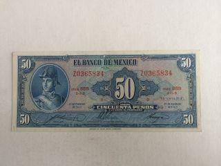 50 Peso Mexico Banknote 1965 Unc.  Allende Bbb photo