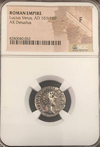 Lucius Versus Prov Deor 163ad Ancient Roman Silver Denarius Ngc 2.  8g photo
