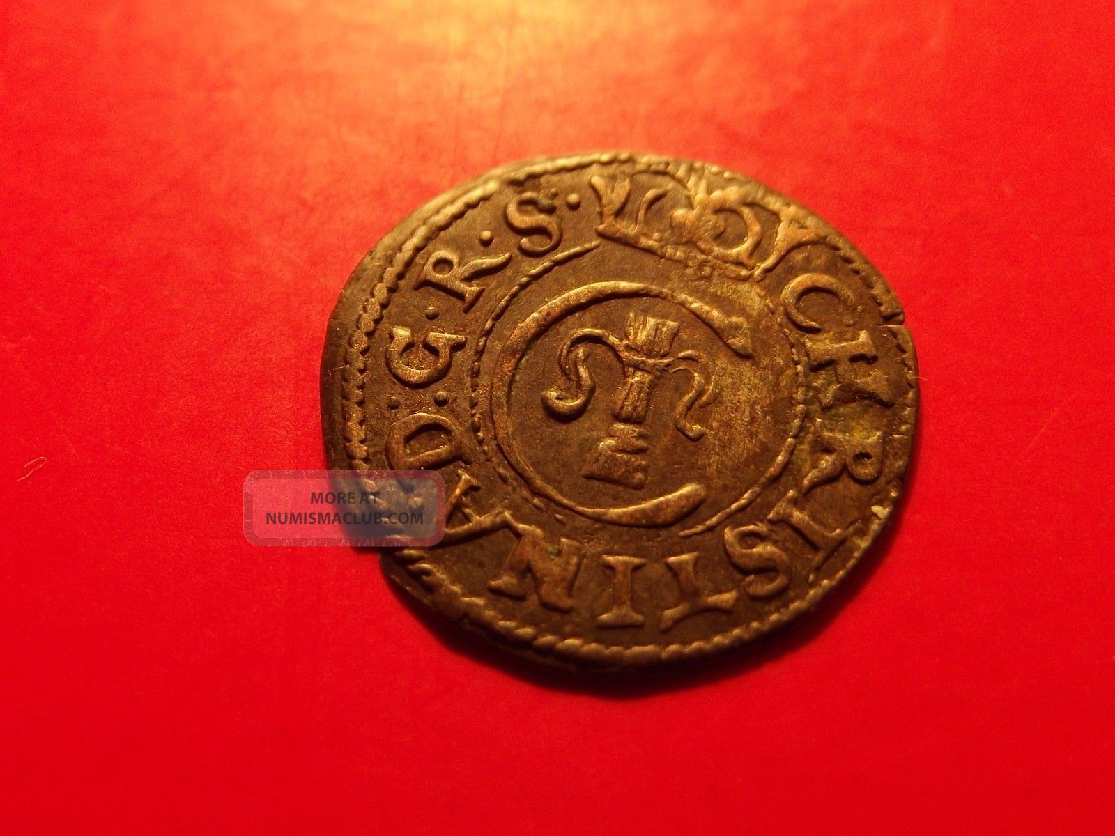 Sweden Livonia 1649 Queen Christina Schilling Solidus Medieval Silver Coin Ae Coins: Medieval photo