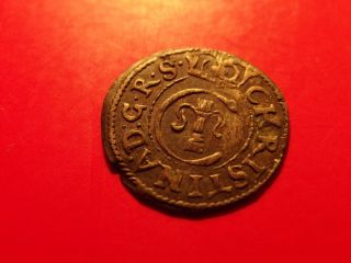 Sweden Livonia 1649 Queen Christina Schilling Solidus Medieval Silver Coin Ae photo