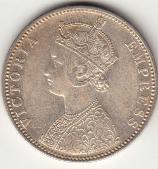 1900 British India Queen Victoria One Rupee Silver Coin Tt6. photo