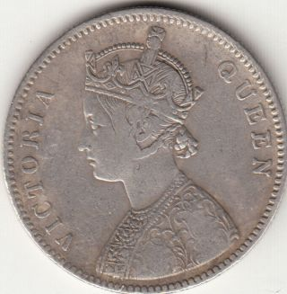 1862 British India Queen Victoria One Rupee Silver Coin With 6 Irregular Dots. photo
