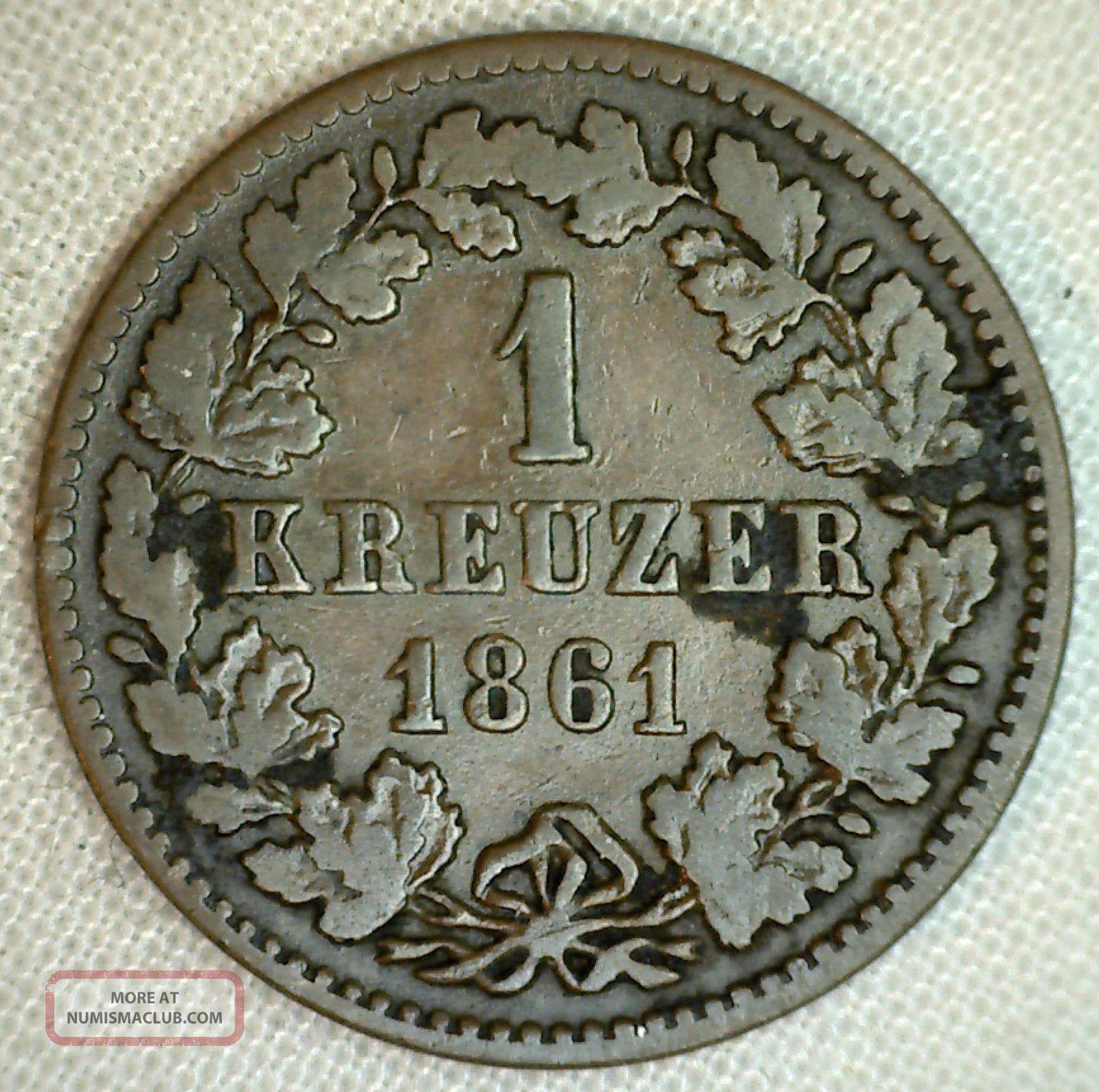 1861 Nassau German States 1 Ein Kreuzer Copper Coin Yg Germany photo
