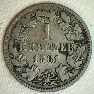 1861 Nassau German States 1 Ein Kreuzer Copper Coin Yg photo
