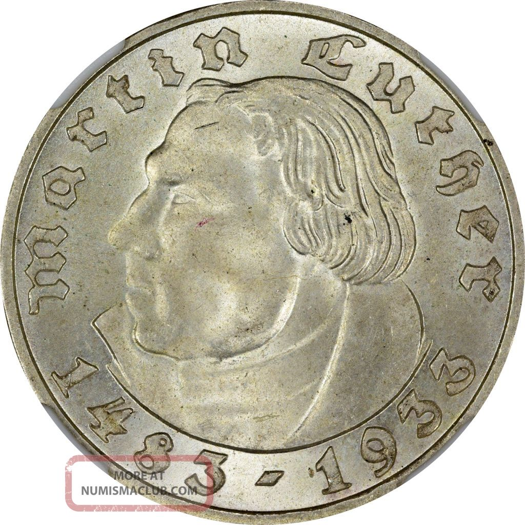 1933 - F Germany Ngc Ms - 64 2m - Martin Luther Germany photo