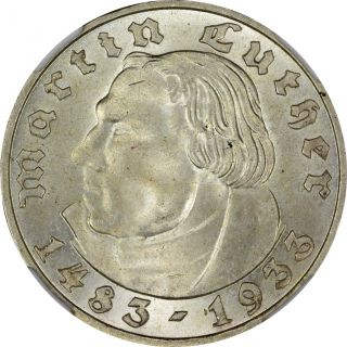 1933 - F Germany Ngc Ms - 64 2m - Martin Luther photo