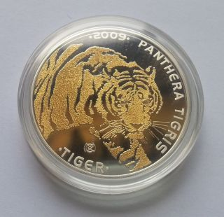 Tiger 1oz Gold Gilded Proof Silver Coin Diamonds Eyes 100 Tenge Kazakhstan 2009 photo