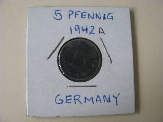 Wwii Nazi German 5 (five) Pfennig Coin 1942