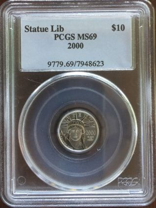 2000 Platinum Liberty Eagle $10 (1/10 Oz Platinum) Pcgs Ms - 69 photo
