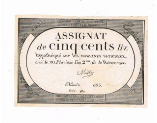 France Assignat French Revolution Pa 77 500 Livres 1794 Sign Mille Vf photo