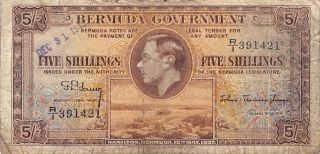 Bermuda 5/ - 12.  5.  1937 / 12.  31.  1943 Series R/1 Circulated Banknote Lb0617jw photo