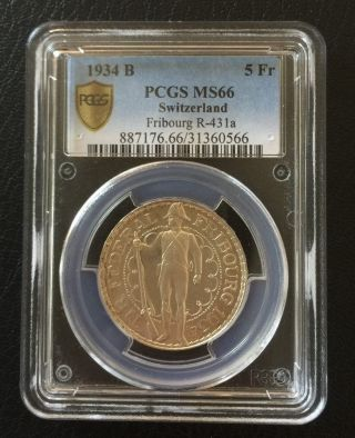 Switzerland 1934 Fribourg Festival 5 Francs Ag Coin Pcgs Ms 66 photo