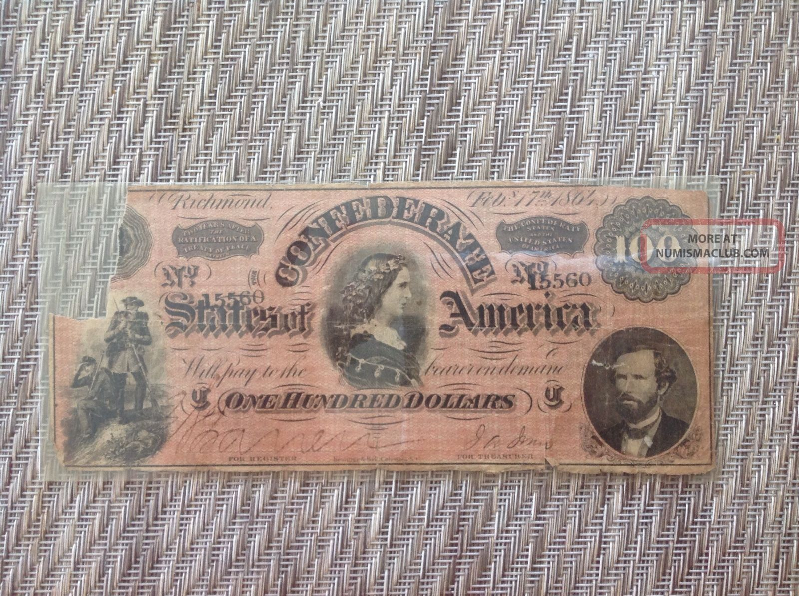 1864 $100 Dollar Bill Confederate States Currency Civil War Note Paper Money Paper Money: US photo