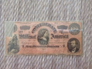 1864 $100 Dollar Bill Confederate States Currency Civil War Note Paper Money photo