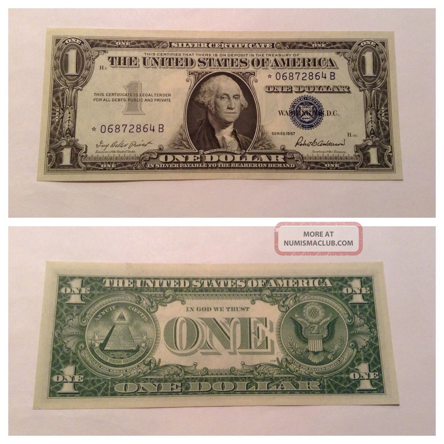 Vintage Uncirculated 1957 Star $1 Silver Certificate One Dollar Bill Washington Small Size Notes photo