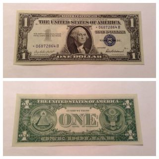 Vintage Uncirculated 1957 Star $1 Silver Certificate One Dollar Bill Washington photo