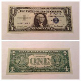 Vintage Uncirculated 1957 Star $1 Silver Certificate One Dollar Bill Washington photo