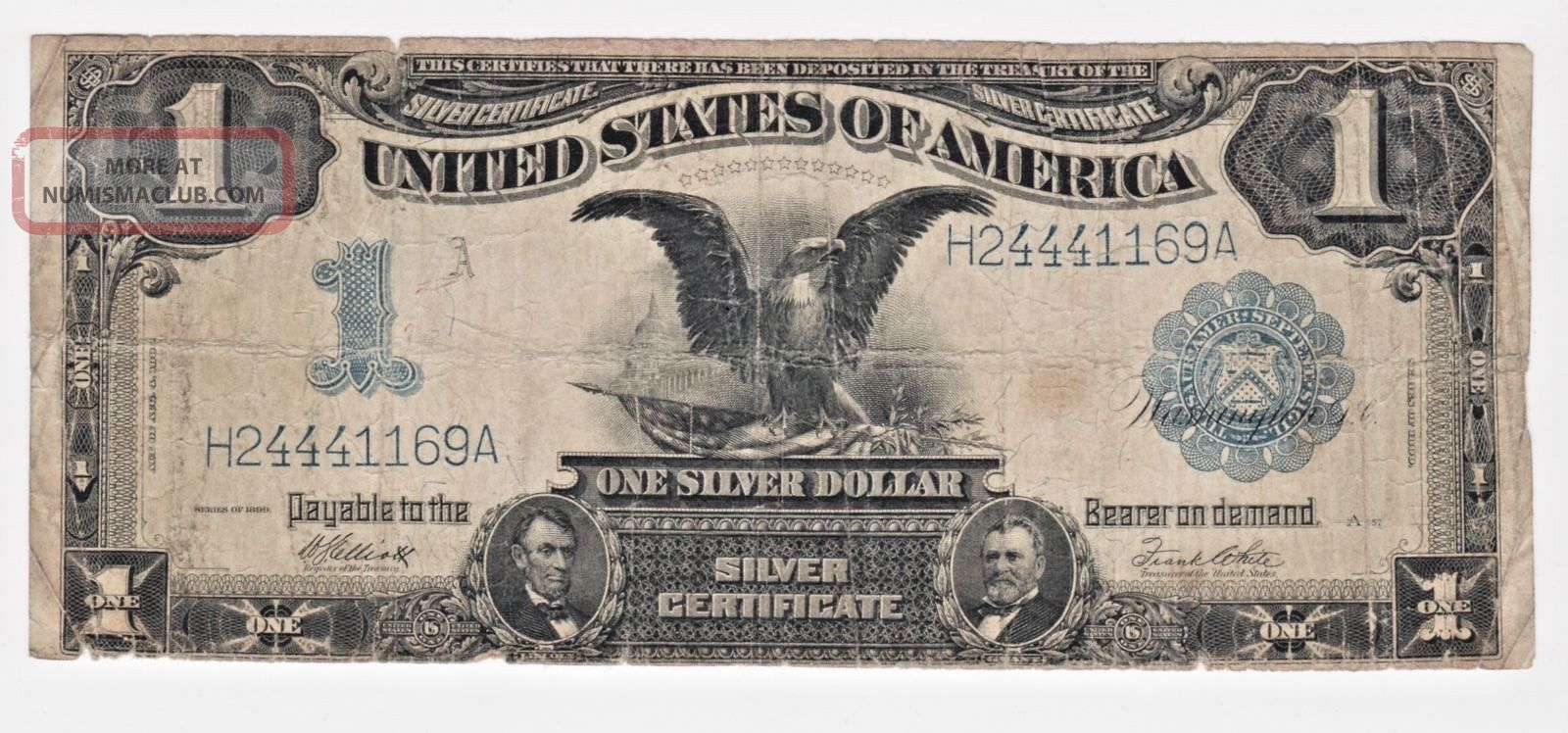 1899 $1 Dollar Large Size Black Eagle Fr - 236 Silver Certificate Note G Large Size Notes photo