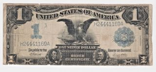 1899 $1 Dollar Large Size Black Eagle Fr - 236 Silver Certificate Note G photo