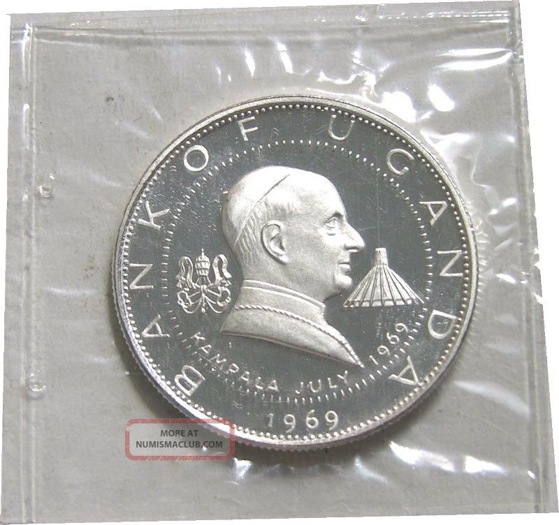 Elf Uganda 2 Shillings 1969 Silver Proof Papal Visit By Pope Paul Vi Africa photo