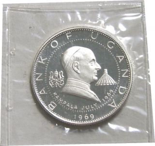 Elf Uganda 2 Shillings 1969 Silver Proof Papal Visit By Pope Paul Vi photo