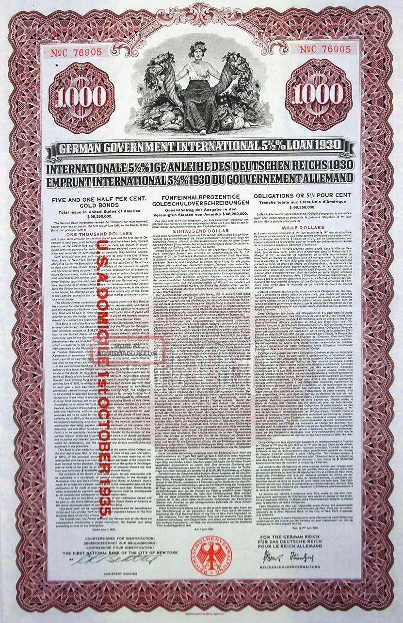 German 1930 Jp Morgan $1000 Manhattan Gold Uncancelled Coupons Bond Loan World photo
