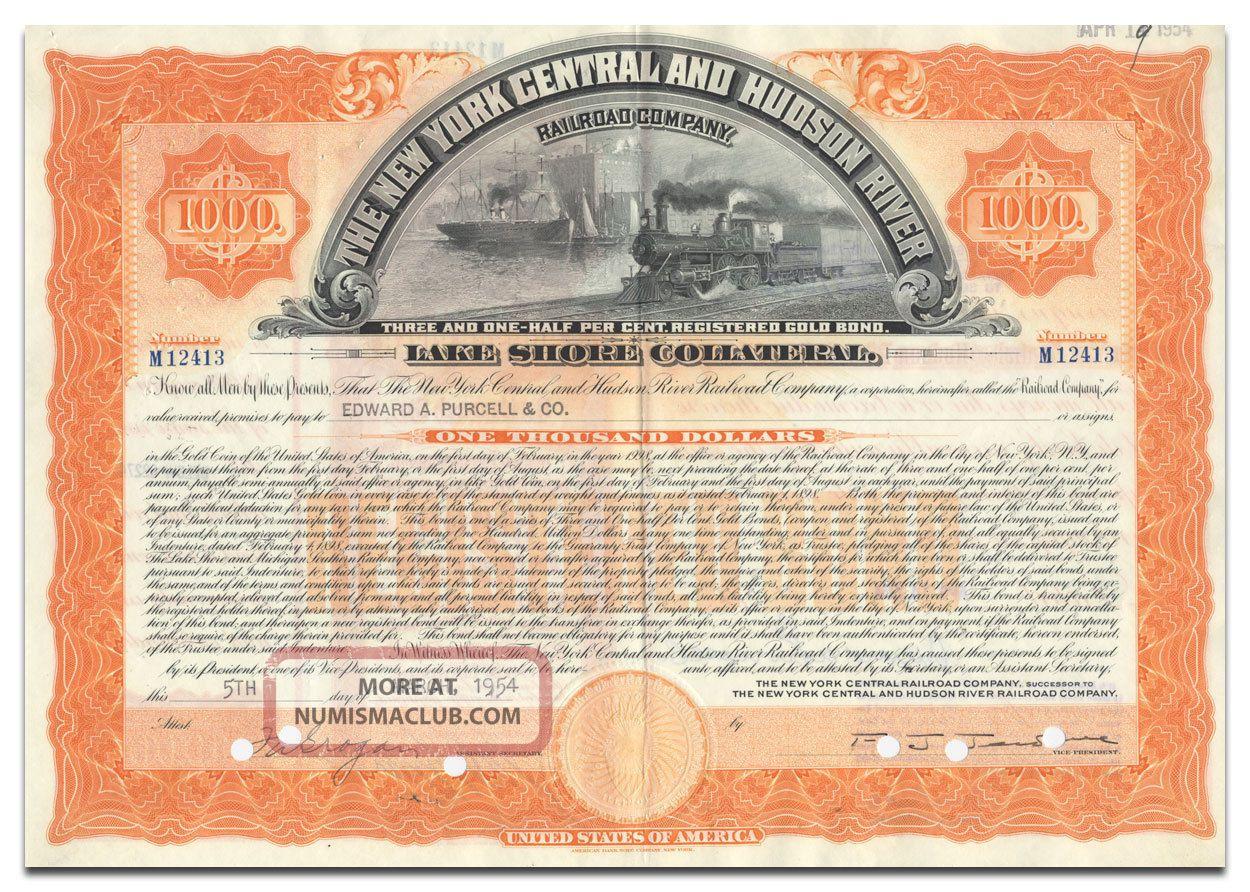 York Central & Hudson River Railroad Company Bond (lake Shore Collateral) Transportation photo