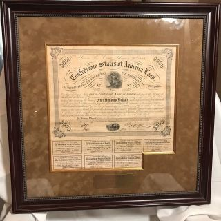 1863 Confederate Csa $500 Bond Loan Certificate W.  Coupons - Beautifully Framed photo