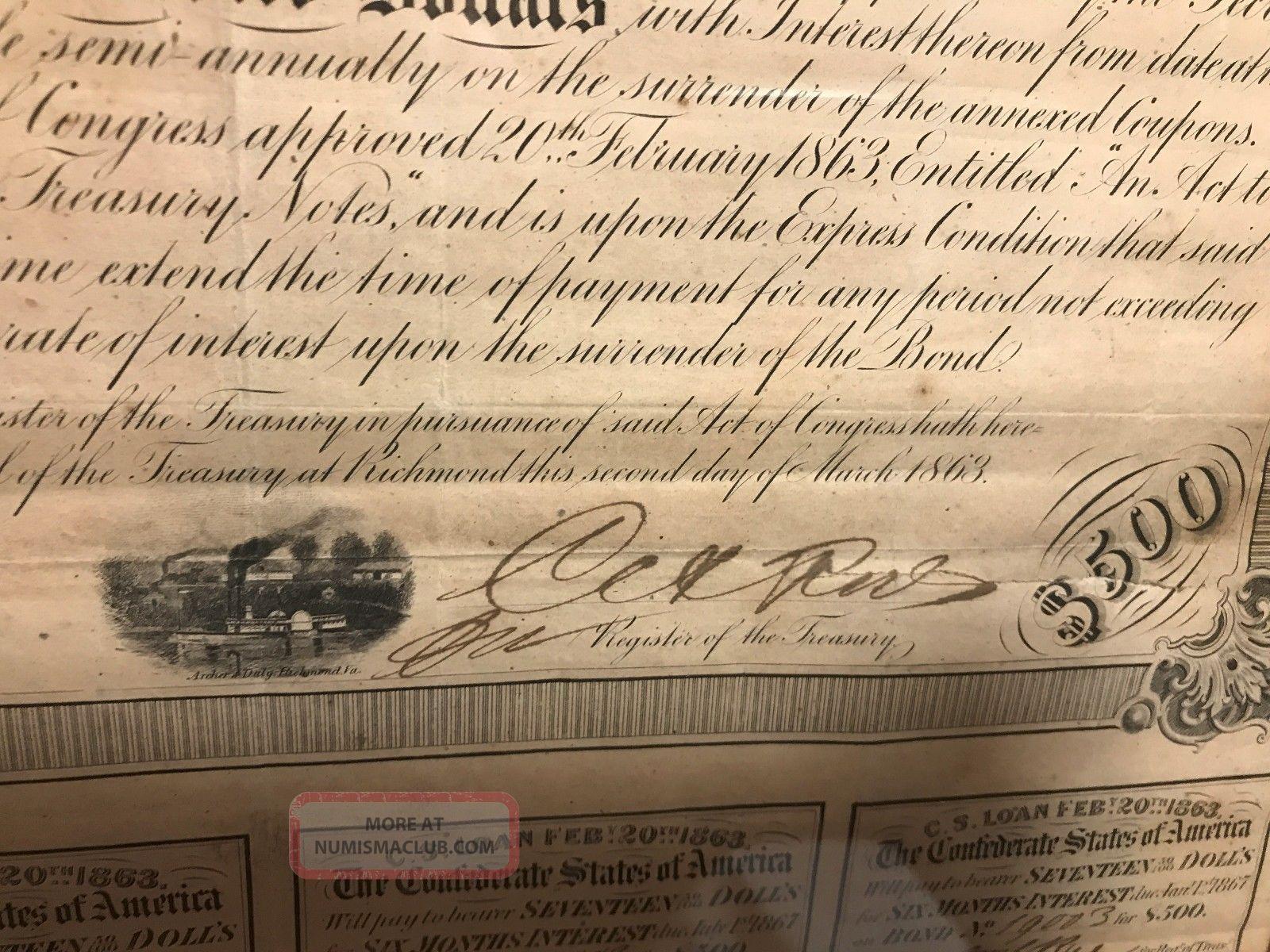 1863 Confederate Csa $500 Bond Loan Certificate W  Coupons
