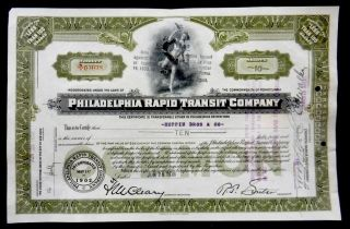 Stock Certificate 1938 Philadelphia Rapid Transit Company 10 Shares Common photo