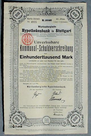 City Of Stuttgart 100000 10 Schuldverschreibung 1923 Uncan Complete Couponsheet photo
