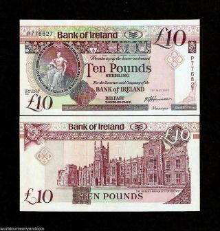 Northern Ireland 10 Pounds P71 1992 Unc Un Record Date Rare Irish Currency Note photo