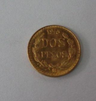 1945 Mexico Dos Pesos 2 Pesos Gold Coin photo