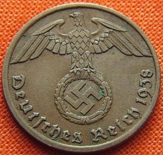 Ww2 German 1938 - A 1 Rp Reichspfennig 3rd Reich Bronze Nazi Coin (rl 1951) photo