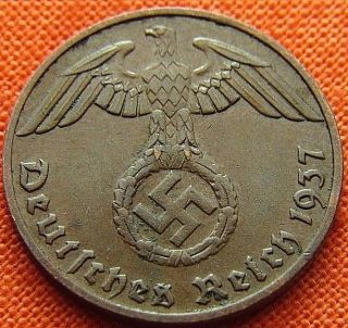 Ww2 German 1937 - F 1 Rp Reichspfennig 3rd Reich Bronze Nazi Coin (rl 1950) photo