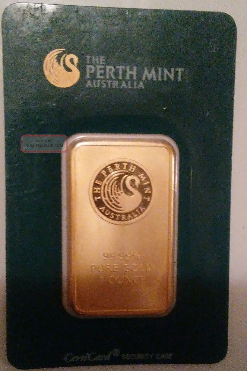 Australia Perth 1oz Gold Bar 99.  99 In Assay Gold photo