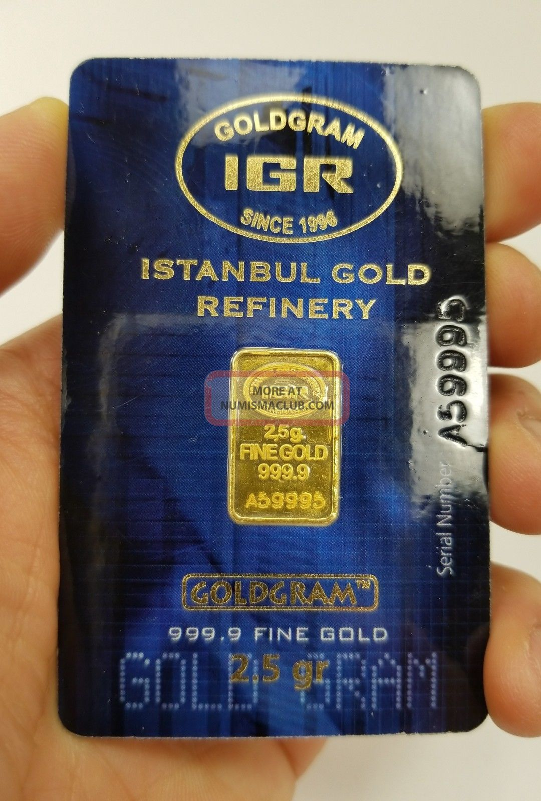 2.  5 Gram 999.  9 24k Istanbul Gold Refinery Bar Igr (in Assay) Gold photo