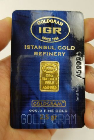 2.  5 Gram 999.  9 24k Istanbul Gold Refinery Bar Igr (in Assay) photo