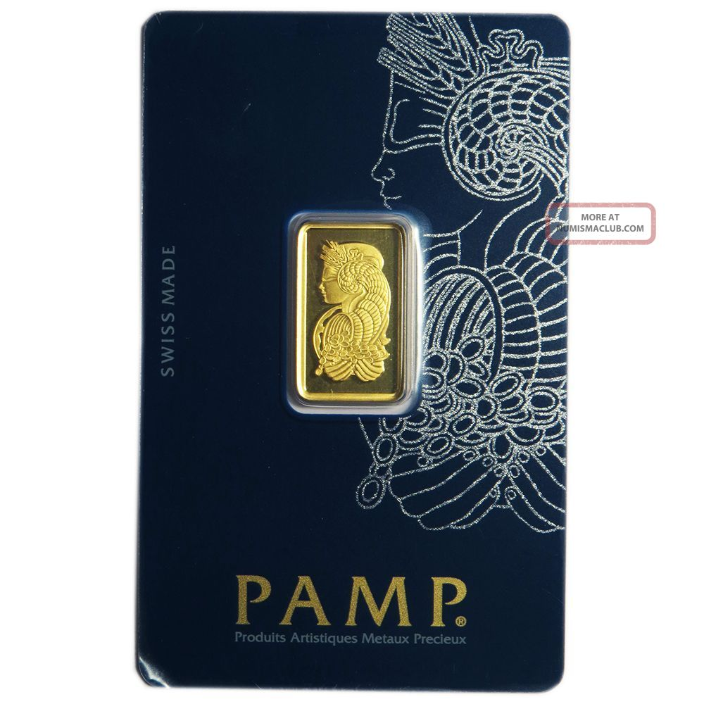 5 Gram Pamp Suisse.  9999 Fine Gold Bar Fortuna Veriscan Bars & Rounds photo