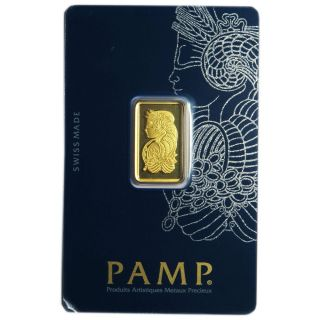 5 Gram Pamp Suisse.  9999 Fine Gold Bar Fortuna Veriscan photo