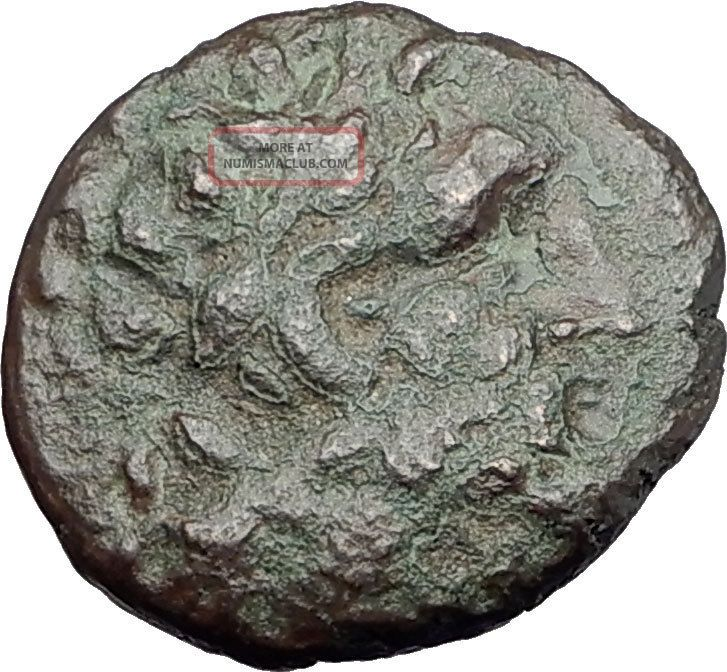 Pergamon In Mysia 100bc Ancient Greek Coin Asclepius & Serpent Omphalos I62103 Coins: Ancient photo