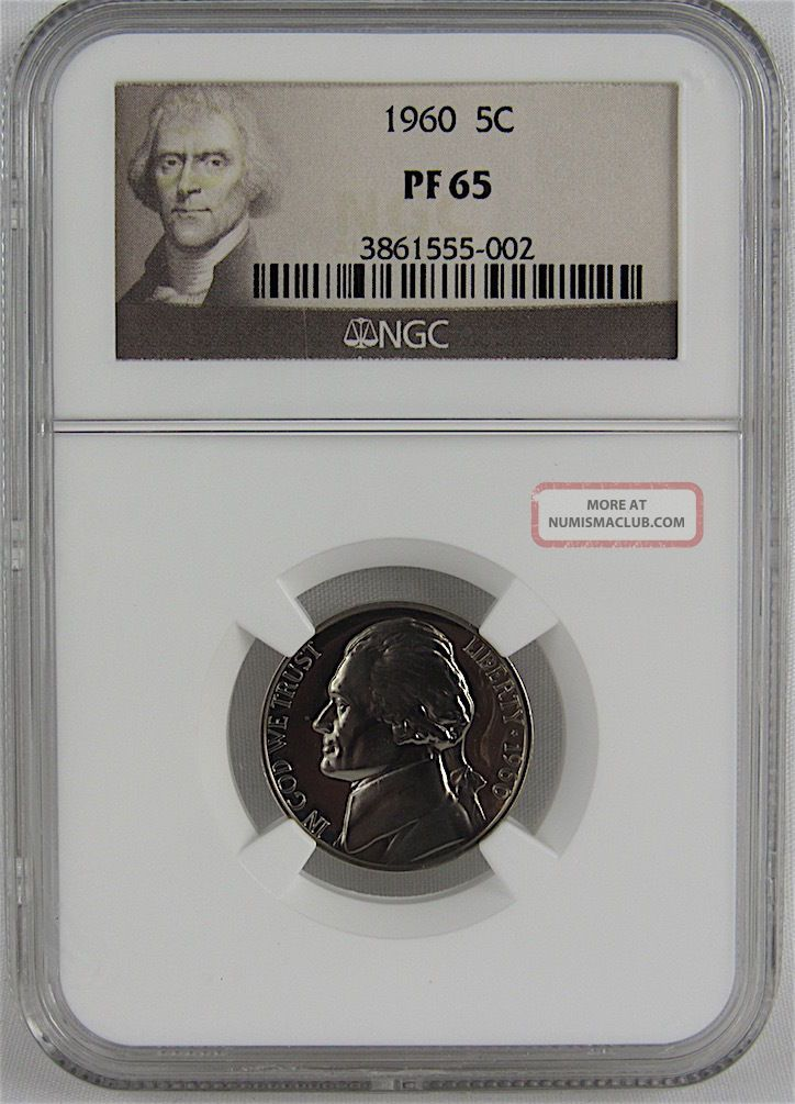 1960 Proof Jefferson Nickel Ngc Pf65 Nickels photo