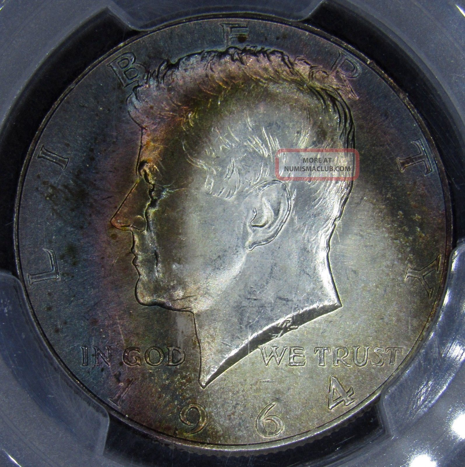 1964 Kennedy Half Dollar Pcgs Ms64 Phenomenal Rainbow Toning Half Dollars photo