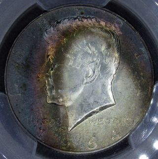 1964 Kennedy Half Dollar Pcgs Ms64 Phenomenal Rainbow Toning photo