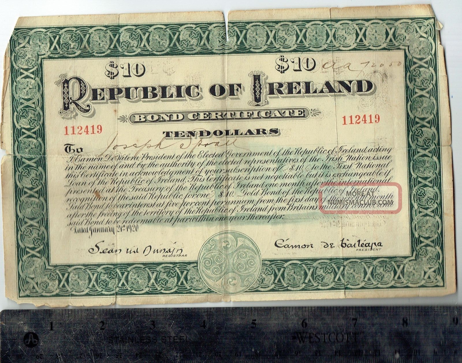 Ireland $10 Bond Certificate Endorsed By Patricia Ann Hurst Eileen Roach Marten Stocks & Bonds, Scripophily photo