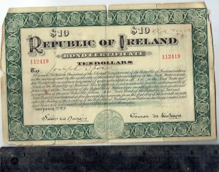 Ireland $10 Bond Certificate Endorsed By Patricia Ann Hurst Eileen Roach Marten photo