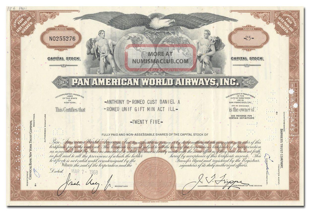 Pan American World Airways,  Inc.  Stock Certificate Transportation photo
