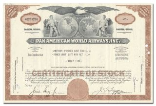 Pan American World Airways,  Inc.  Stock Certificate photo