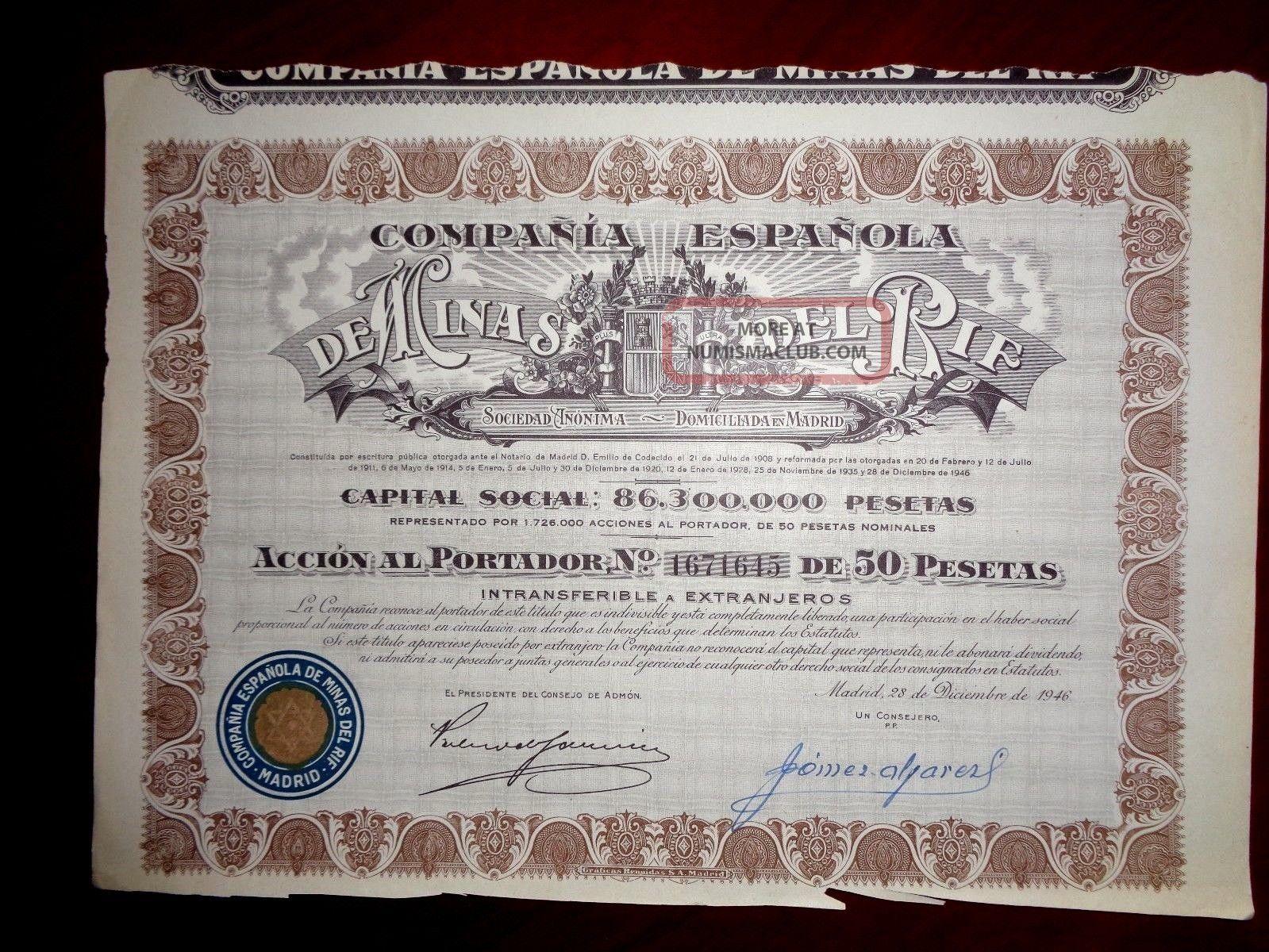 Minas Del Rif,  Share Certificate 1946 Spain Vg World photo