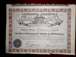 Minas Del Rif,  Share Certificate 1946 Spain Vg photo